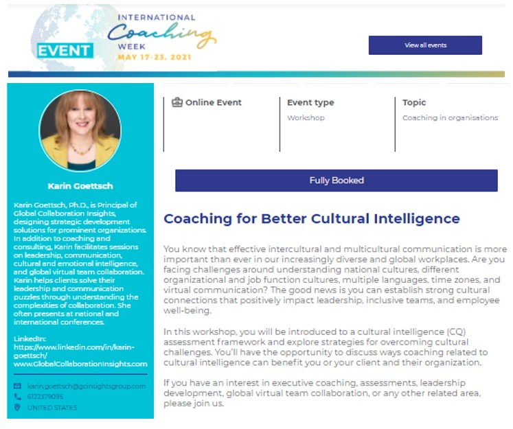 ICF Workshop: Coaching for Better Cultural Intelligence